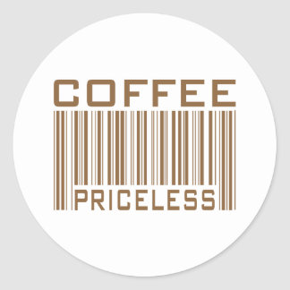 Coffee Priceless Bar Code Tees Gifts Classic Round Sticker