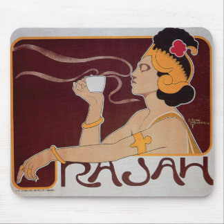 Coffee Rajah Vintage Hot Coffee Drink Ad Mouse Pad