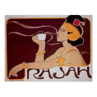 Coffee Rajah Vintage Hot Coffee Drink Ad Postcard