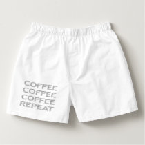 COFFEE repeat - strips - gray and white. Boxers