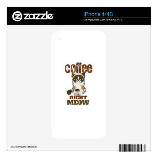 Coffee Right Meow Decal For iPhone 4