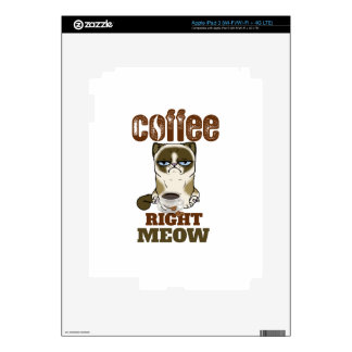Coffee Right Meow Decals For iPad 3
