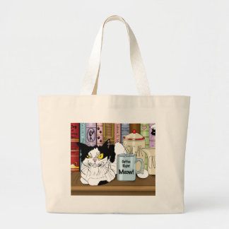 Coffee Right Meow!! Large Tote Bag
