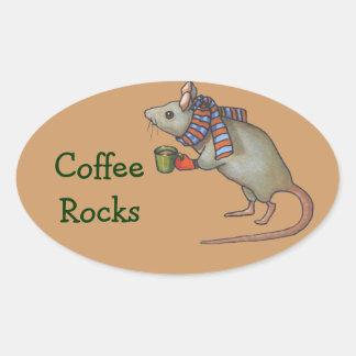 Coffee Rocks: Cute Mouse With Coffee Mug: Art Oval Sticker