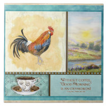 Kitchen on Coffee Rooster Funny Sayings Kitchen Art Decor Tile By ...