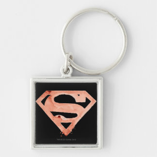 Coffee S Symbol - Red Silver-Colored Square Keychain
