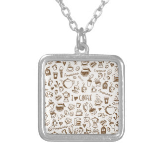 Coffee Scribble Silver Plated Necklace