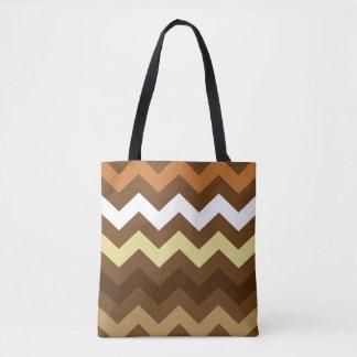 Coffee Shades Chevron Tote Bag