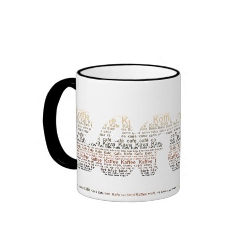 Coffee Shaped Coffee In Different Languages Mug Zazzle