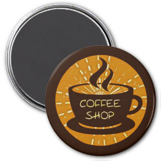 Coffee Shop 3 Inch Round Magnet