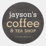 Coffee Shop Black Wood Label Sticker