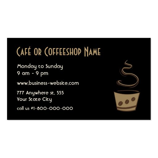 Coffee Shop Business Card (back side)
