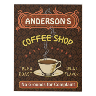 Coffee Shop Cafe Coffeehouse | Personalized Name Panel Wall Art