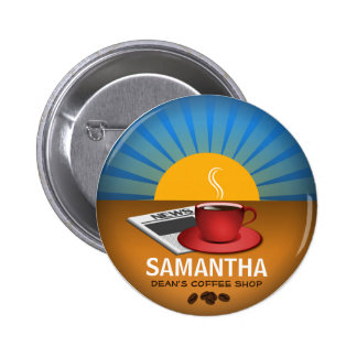 Coffee Shop Cafe Staff ID Name Tag Round Badge Button