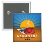 Coffee Shop Cafe Staff ID Name Tag Square Badge Button