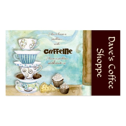 Coffee Shop Cappuccino, Espresso n Latte cards Business Card (front side)