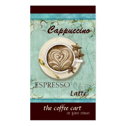 Coffee Shop Cappuccino, Espresso n Latte cards Business Card Template (front side)