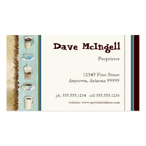 Coffee Shop Cappuccino, Espresso n Latte cards Business Card Template (back side)