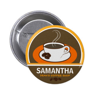 Coffee Shop Coffee Cup Cafe Staff ID Name Tags 2 Inch Round Button