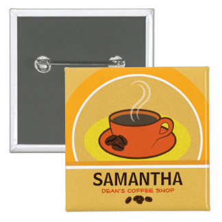 Coffee Shop Coffee Cup Cafe Staff ID Name Tags Buttons