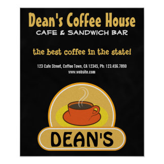 Coffee Shop Coffee Cup Custom Black Cafe Posters