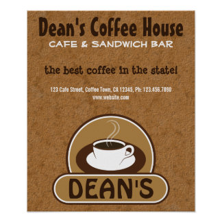 Coffee Shop Coffee Cup Custom Cafe Posters Poster