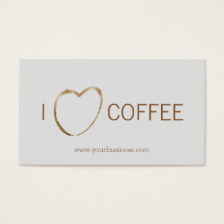 Coffee Shop - coffee stain heart Business Card