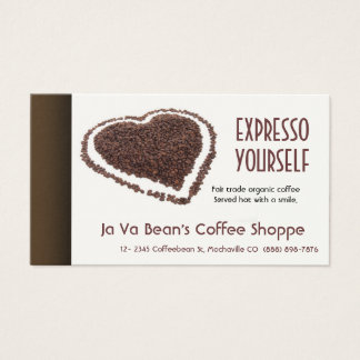 Coffee Shop Coffeebeans Heart Business Card