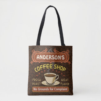 Coffee Shop Coffeehouse Cafe Beans | Custom Name Tote Bag