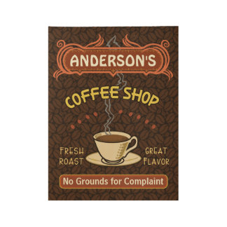 Coffee Shop Coffeehouse Cafe Beans | Personalized Wood Poster