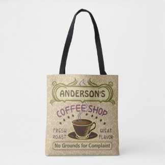 Coffee Shop Coffeehouse Cafe Light Beans Add Name Tote Bag