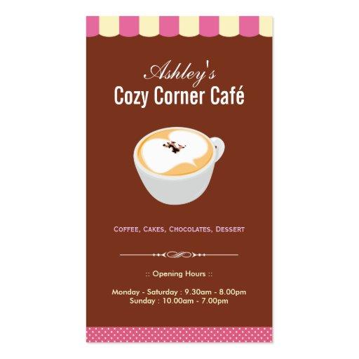 Coffee Shop - Cozy Cornet Café Cafe Business Card (front side)