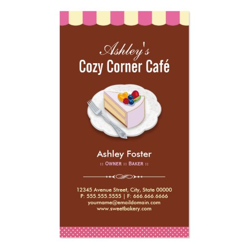 Coffee Shop - Cozy Cornet Café Cafe Business Card (back side)