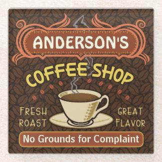 Coffee Shop Custom Name Beans Mug Personalized Glass Coaster