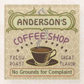 Coffee Shop Custom Name Beans Mug Personalized v2 Glass Coaster