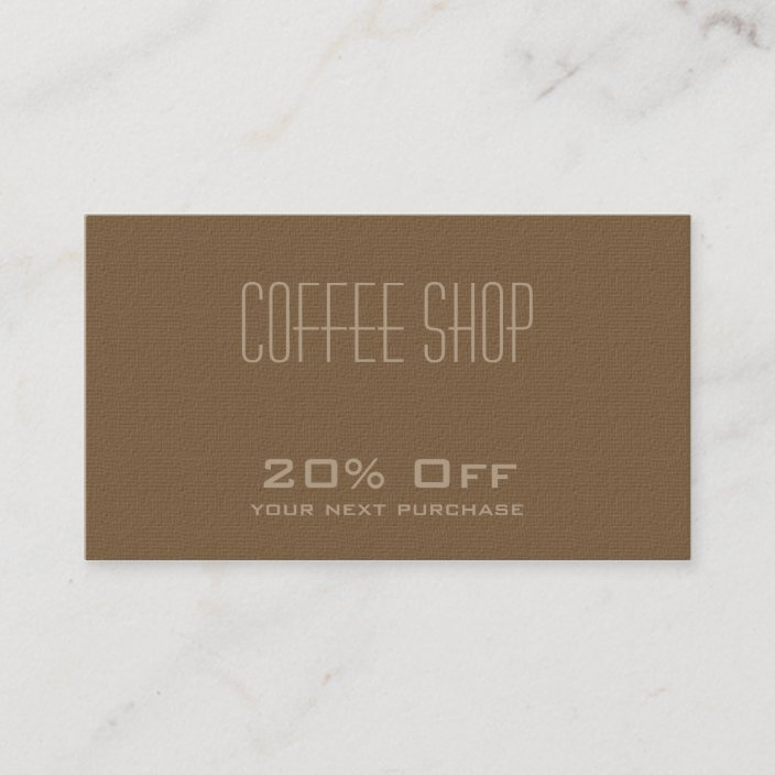 Coffee Shop Discount Coupon Card Zazzle Com