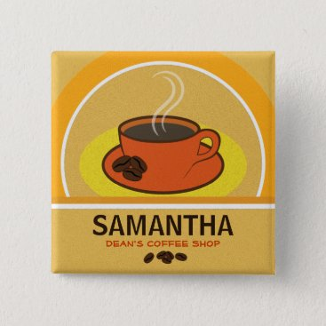 Coffee Themed Coffee Shop Orange Cup Cafe Staff ID Name Tags Pinback Button