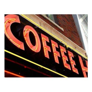 Coffee Themed Coffee Shop Postcard