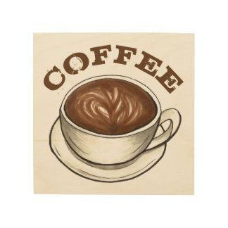 COFFEE Shop Seattle Latte Cup Foodie Kitchen Food Wood Print