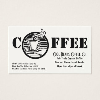 Coffee Shop Steaming Cup Cafe Business Card
