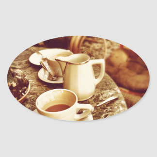 Coffee Shop Table Oval Sticker