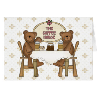 Coffee Shop Teddy Bears Card