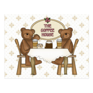 Coffee Shop Teddy Bears Postcard