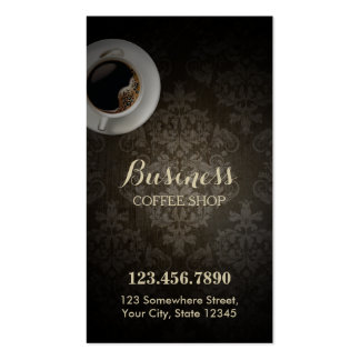 Coffee Shop Vintage Damask Loyalty Punch Business Card