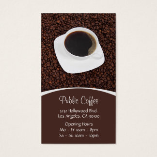 Coffee Shop White Cup on Brown Coffee Beans Business Card