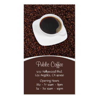 Coffee Shop White Cup on Brown Coffee Beans Double-Sided Standard Business Cards (Pack Of 100)