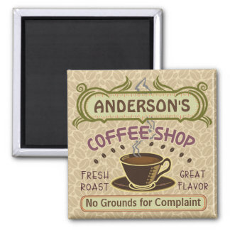 Coffee Shop with Cup Create Your Own Personalized 2 Inch Square Magnet