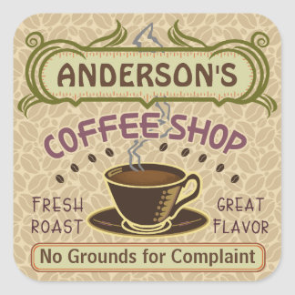Coffee Shop with Cup Create Your Own Personalized Square Sticker