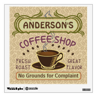 Coffee Shop with Cup Create Your Own Personalized Wall Decal