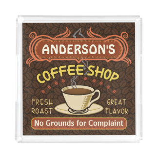 Coffee Shop with Mug Create Your Own Personalized Square Serving Trays